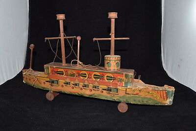 Antique Wood Admiral Bliss Litho Cannon Boat Pull Toy As Found Ship 1800's