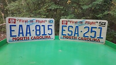 1985 & 1986 North Carolina First In Flight License Plate Tags #eaa-815 #esa-251