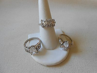Lot of Three Gorgeous Sterling Silver CZ Rings   Lot #100
