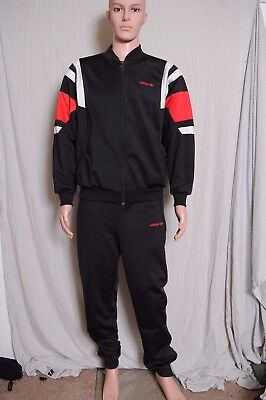 Vintage 90s ADIDAS Warm Up suit Polyester Feel Black zip front tapered leg M/L