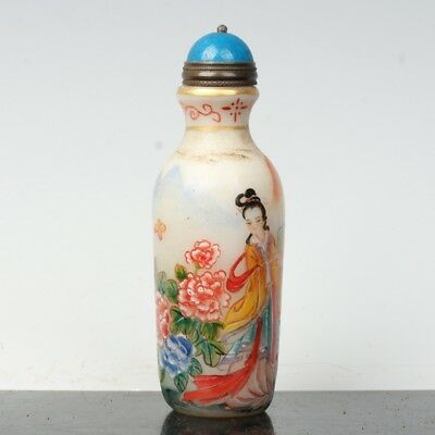 China Exquisite Handmade Beauty and floral patterns Glass snuff bottle