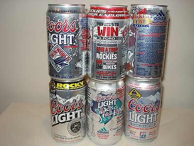 """Coors Light Canada - 6 Vintage """"Talking"""" Contest beer cans - Molson Canada"""