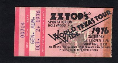 1976 ZZ Top Point Blank Concert Ticket Stub Hollywood FL World Wide Texas Tour