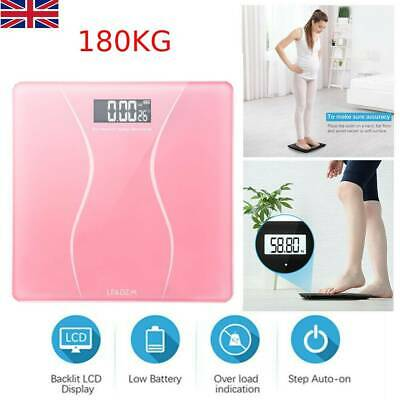 Digital Bathroom Scale Toughened Glass Electronic Weight Scale Black 396lb/180kg