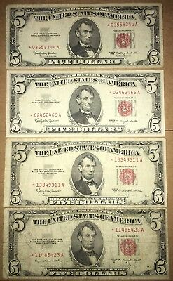 1953B, 1953C, & 1963 $5 RED SEAL STAR NOTES! Four Note Lot! Circulated.