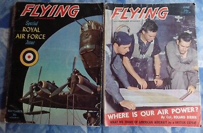 Lot of 2 Vintage FLYING & Popular Aviation Magazines 1942 RAF Special Issue WWII