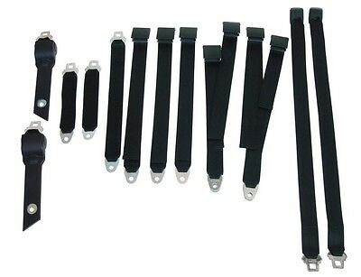 PG Classic 3850-70BUK-100 Mopar 1970-71 A-Body Bucket Seat Belt Set Black