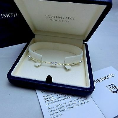 New Mikimoto Akoya Pearl 18K Yellow Gold Station Bracelet 3.7mm Pearl Gift Wrap