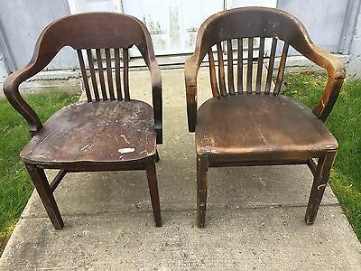 2 Antique Non Matching Oak Walnut Wood Marble Industrial Office Arm Chair Pickup