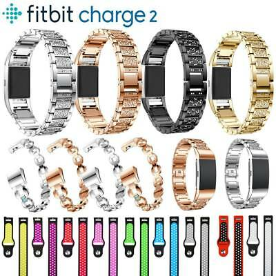 Stainless Steel Metal/Silicone Strap Bracelet Band For Fitbit Charge 2 Tracker