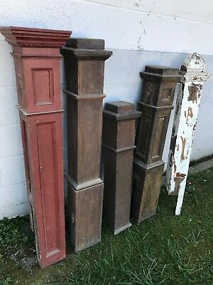 5 Antique Wood Staircase Column Pillar Newel Posts Architectural Salvage Pickup