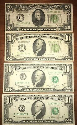 DEALER LOT! 4 Mixed $10 & $20 Federal Reserve Notes! Circulated Condition