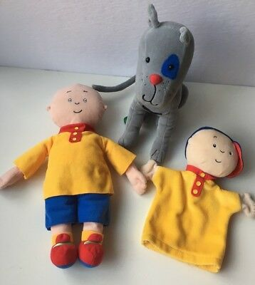3 items: Caillou doll, puppet and plush Gilbert cat