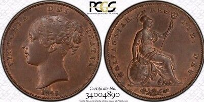 1845 Great Britain 1 Penny Coin PCGS MS-63BN RARE