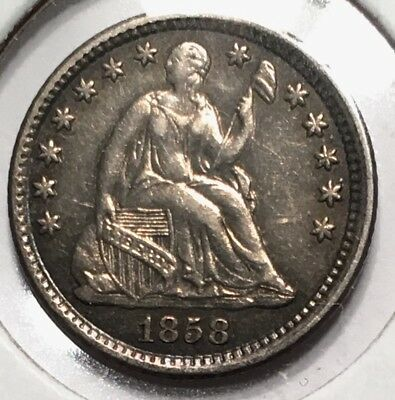 1858-O H10C Liberty Seated Half Dime  - XF+ AU Almost Uncirculated