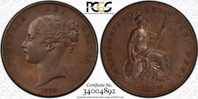1858/7 Great Britain 1 Penny Coin PCGS MS-63BN RARE