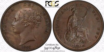 1857 Ornamental Trident Great Britain 1 Penny Coin PCGS MS-64BN RARE