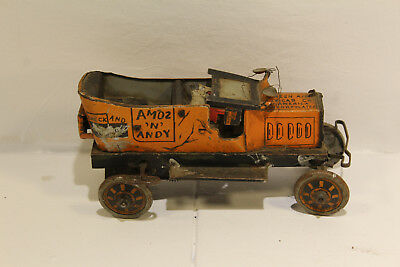 Antique Louis Marx Amos & Andy Tin Litho Wind Up Fresh Air Taxi Toy 1930's