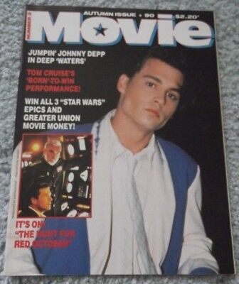 MOVIE 90 MAGAZINE,no 2,JOHNNY DEPP, TOM CRUISE, RED OCTOBER,DISNEY,BORN 4TH JULY