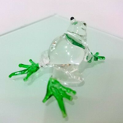 TINY FROG HAND PAINT GREEN BLOWN GLASS ART FIGURINE DECOR/ANIMAL COLLECTION#pro