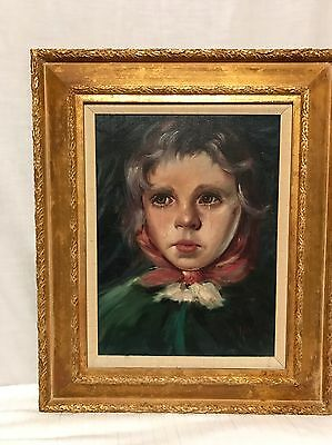 Vintage Oil Painting Portrait On Canvas Crying Girl In Dress Signed A Nolz