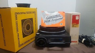 Kodak Carousel 760H Projector, Extra 140 Slide Tray, Remote, Instructions, Works