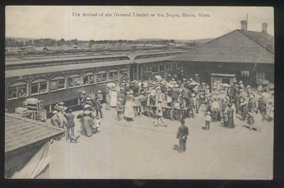 Rp northern pacific railroad train depot glendive montana postcard havre montanamt oriental limited at railroad depot train station 1907 sciox Choice Image