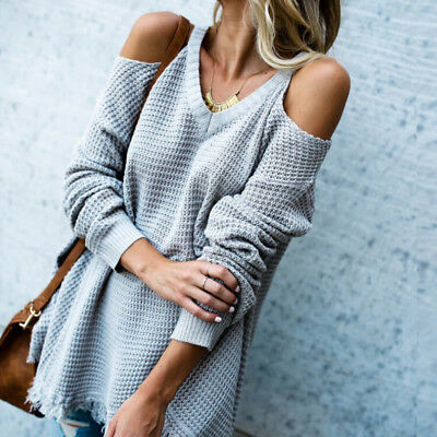 US Stock Sexy Women Cold Shoulder Long Sleeve V Neck Sweater Fashion Tops Blouse
