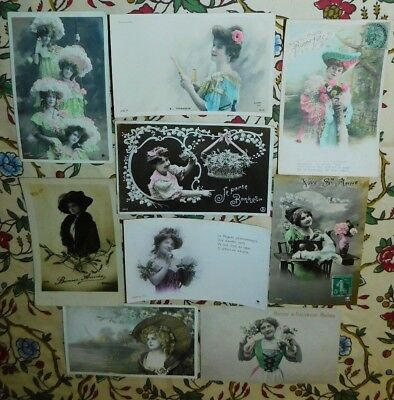 Estate 9 x 1900/10 French Costume Lady Sewing Machine Hat Greeting Postcards