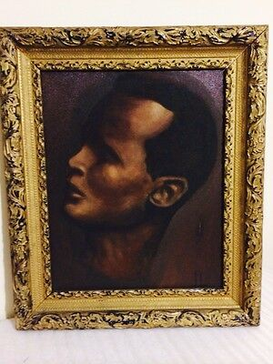 Vintage Side View Portrait Of A Mans Face Oil Painting On Board Framed Signed