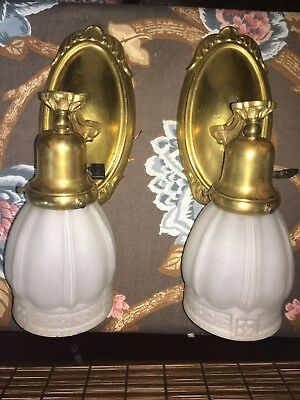 Pair of Antique Electric Wall Sconces & Glass Shades