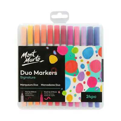 Mont Marte Adult Colouring Duo Markers 24pce, Fine Tip & Brush