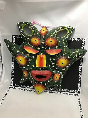 Abstract Style Artisan Hand Painted Paper Mache Mask - Hanging Souvenir Decor