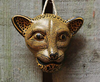 Gold Jaguar Wall Mask Clay Amatenango Hand made Chiapas Mexican Folk Art Tribal