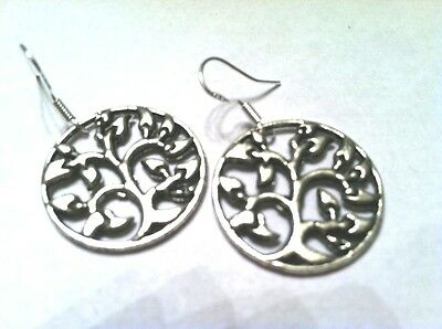 TREE OF LIFE med.open circle silver,.925 Sterling wires Jewish Wicca Celtic Boho