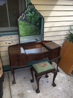 Antique Dressing Table And Original Tapestry Stool