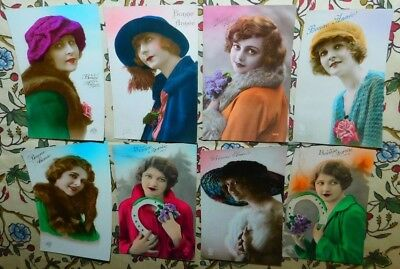 Estate 8 x 1920s French DECO Ladies Furs Hats Photo Greeting Postcards