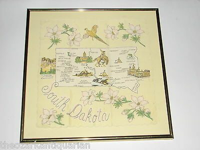 South Dakota vintage hand embroidered handkerchief framed exquisite FREE SH