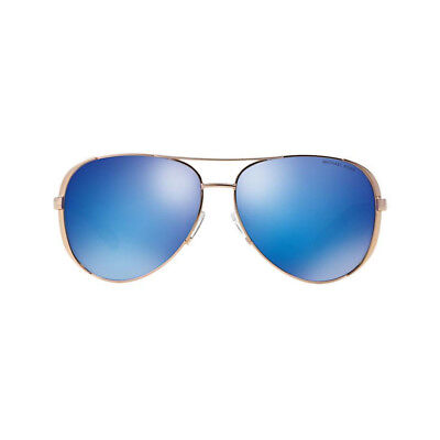 New Michael Kors MK5004 100325 Aviator Chelsea Sunglasses Gold Metal Blue Mirror