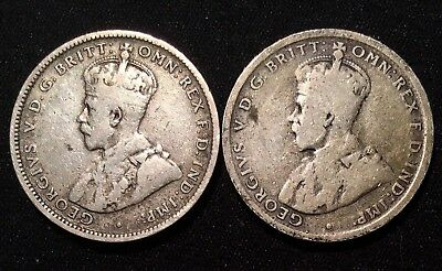 1922 1917 Australia SILVER Shilling - Lot of 2 Sterling SILVER Coins