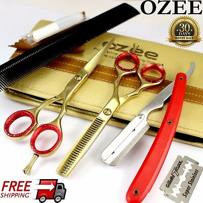 "5.5"" Professional Barber Hairdressing Scissors Thinning & Hair Cutting Set Gold"