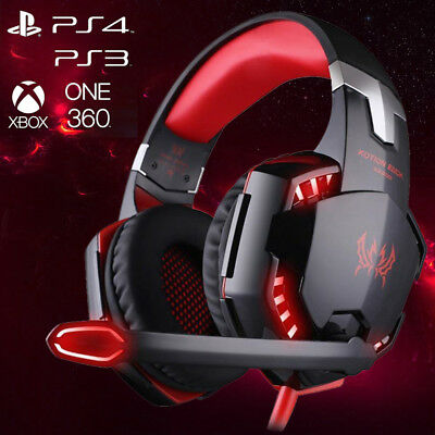 3.5mm Gaming Headset Mic RED LED Headphones Stereo for Laptop PS3 PS4 Xbox one X