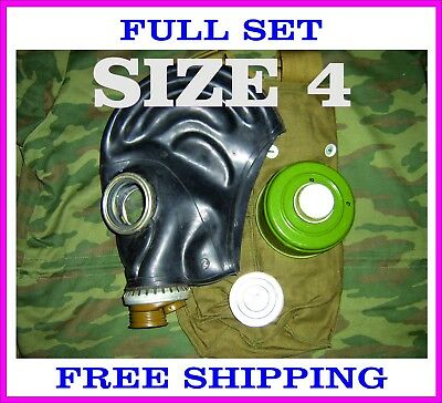 Military soviet russian gas mask GP-5. SIZE-4. FULL SET. Black