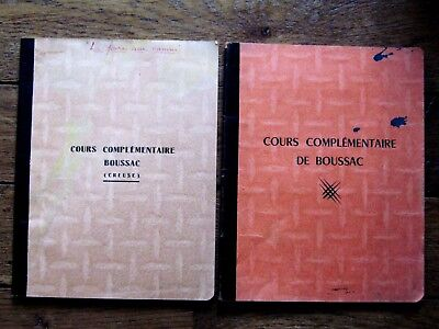 """""""boussac"""",2 Cahiers Cours Complementaire,creuse,23,limousin,ecole,annees 50"""