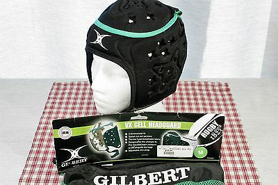 Gilbert VX Cell RUGBY Headguard Boys Black Medium  with bag. EXC+ !