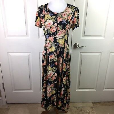 Starina Maxi Dress Sz M Rayon Floral Short Sleeve Black Pink Yellow Vintage 90s