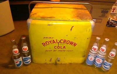 1950's  ROYAL CROWN COOLER Vintage  Yellow Cooler with insert and bottles