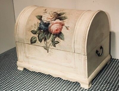 Wooden Box Steamer Trunk Style Painted Bloomed Rose Design Storage