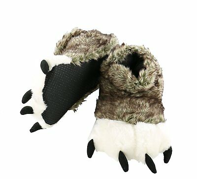 Fuzzy Slippers With Claws Animal Monster Dinosaur Bigfoot Wolf Bear Paw X Large