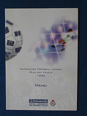 Colchester United v Torquay United - Div 3 Play Off Final 22/5/98 - Menu